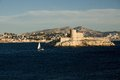 Island if in france the frioul islands near marseille with the fort Royalty Free Stock Photo