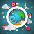 Island illustration. Cartoon paper landscape. Palm, sea, water, anchor, moon flower.
