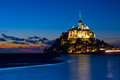 The island of mont st michel in normandy france saint is a rocky tidal and a commune located approximately one kilometer off Royalty Free Stock Photo