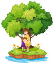 An island with a mother and a daughter illustration of on white background Stock Photo