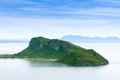 Island and mountain in the middle of the sea in Thailand. Royalty Free Stock Photo