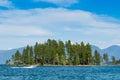 Island with mountain view on Flathead Lake Montana Royalty Free Stock Photo