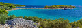 Island of Murter turquoise beach panoramic Royalty Free Stock Photo