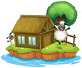 An island with a native house and two sheeps illustration of on white background Stock Photography