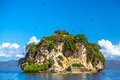 Island near the samana shore dominican republic small stone islands in peninsula Royalty Free Stock Images