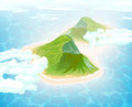 Island in Ocean. Aerial view. Royalty Free Stock Photo
