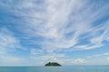 Island with pagoda at the Myeik Archipelago, Myanmar Royalty Free Stock Photo