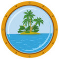 Island with palm and bronze ship window Stock Image
