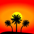 Island with palm trees illustration Stock Images