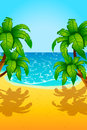 Island party illustration of sea sand beach and few palm trees Royalty Free Stock Image