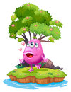 An island with a pink monster near the giant tree illustration of on white background Royalty Free Stock Photo