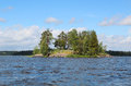 Island on the river vuoksa Stock Photo