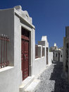 Island of santorini greece street on the greek in the cyclades in the aegean sea off the coast mainland Stock Image