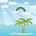 Island in the sea with palm tree Royalty Free Stock Photo