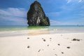 Island sea sand sun beach nature destination wallpaper and background for design at phra nang bay and railay bay krabi thailand Royalty Free Stock Photos