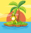 An island with a stranded turtle near the coconut tree illustration of Royalty Free Stock Photos