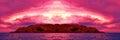 Island Sunset Panorama. Royalty Free Stock Photo