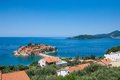 Island of sveti stefan view the in montenegro on the adriatic sea Stock Images