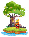 An island with three monsters under the giant tree illustration of on a white background Royalty Free Stock Photography