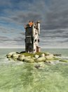 Island tower mediaeval or fantasy on a small rocky in the ocean d digitally rendered illustration Stock Image