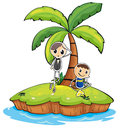 An island with two boys Royalty Free Stock Photo