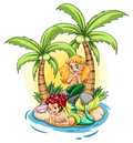 An island with two mermaids illustration of on a white background Stock Photography