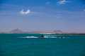 Island view of one of the cape verde islands with two volcanos Royalty Free Stock Images