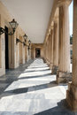 Isle with columns in corfu city pillars and front of museum the of Stock Image