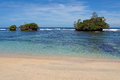 Islets in clear waters sandy beach with the of caribbean sea bastimentos island bocas del toro panama Stock Images