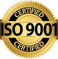 Iso certified golden label vector illustration Royalty Free Stock Images