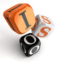 Iso orange black dice blocks on white background clipping path included Stock Image