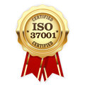 ISO 37001 standard certified rosette - Anti-bribery management Royalty Free Stock Photo