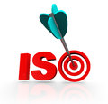 Iso word acroynm target arrow certified company or acronym with a in a bulls eye to illustrate a has made it a goal to be as Royalty Free Stock Images