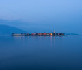Isola dei pescatori at dusk a historic island and popular tourist destination on lake maggiore‎ italy Royalty Free Stock Photography
