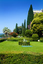 Isola del garda looking up to the venetian neo gothic style villa Stock Image