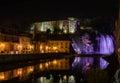 Isola Liri waterfall and castle by night, Ciociaria, Italy Royalty Free Stock Photo