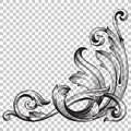 Isolate corner ornament in baroque style