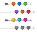 Isolated 3d Hearts and Arrows Set Royalty Free Stock Photos