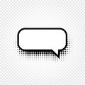 Isolated abstract black and white color comic speech balloon icon on checkered background, dialogue box sign, dialog