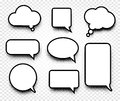 Isolated abstract black and white color comics speech balloons icons collection on checkered background, dialogue boxes