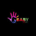 Isolated abstract colorful baby foot in adult hand logo. Negative space logotype. Kids shoes store icon. Family sign Royalty Free Stock Photo