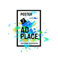 Isolated abstract colorful broken glass explosion in rectangular frame, ad place poster in blue shades,geometric