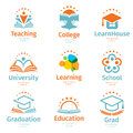 Isolated abstract colorful education and learn logo set, university and school books, graduate hats and human