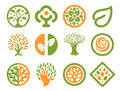 Isolated abstract green, orange color natural logo set. Nature logotypes collection. Environmental icons. Park emblem