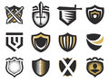 Isolated abstract medieval shields logos set, coat of arms logotypes collection on white background vector illustration