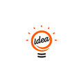 Isolated abstract orange color light bulb contour logotype, lighting logo on white background, idea symbol vector