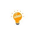 Isolated abstract orange color light bulb logotype, lighting logo on white background, idea symbol vector illustration
