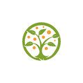 Isolated abstract round shape green, orange color tree logo. Natural element logotype. Leaves and trunk icon. Park or
