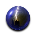 Isolated abstract thunder storm lightning bolt in the glass ball on black background with clipping path Royalty Free Stock Photo