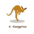 Isolated animal alphabet for the kids,K for Kangaroo Royalty Free Stock Photo